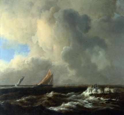 Jakob van Isaacs Ruisdael. Ships in the fresh sea breeze