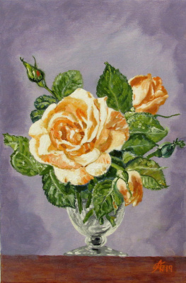 Artashes Badalyan. Cecil Kennedy. Roses in a glass goblet (free copy) - xm - 30x20