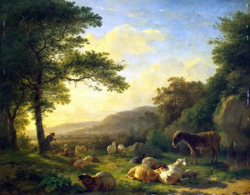 Балтазар Пауль Омеганк. Пейзаж со стадом