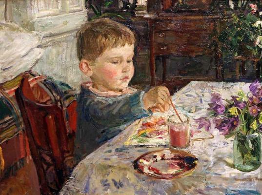 Аркадий Александрович Пластов. Внук рисует