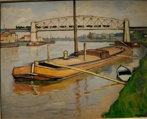 Albert Marquet. Landscape with a barge. Bridge de Conflans.