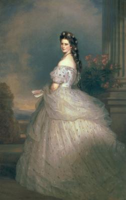 Франц Ксавер Винтерхальтер. Елизавета Баварская, императрица Австрии, жена императора Франца-Иосифа, в парадном платье с алмазными звездами