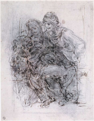 Leonardo da Vinci. Madonna with child and St. Anna (sketch)