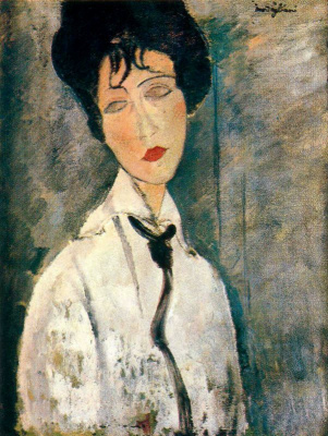 Amedeo Modigliani. Portrait of a woman in a black tie