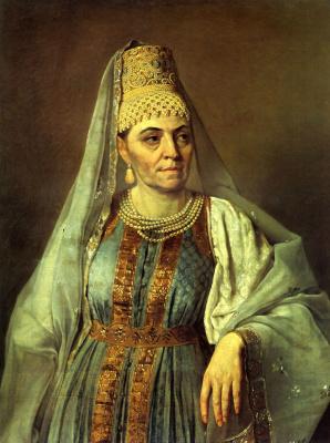 Alexey Gavrilovich Venetsianov. Portrait of M. A. Venetsianova in Russian costume