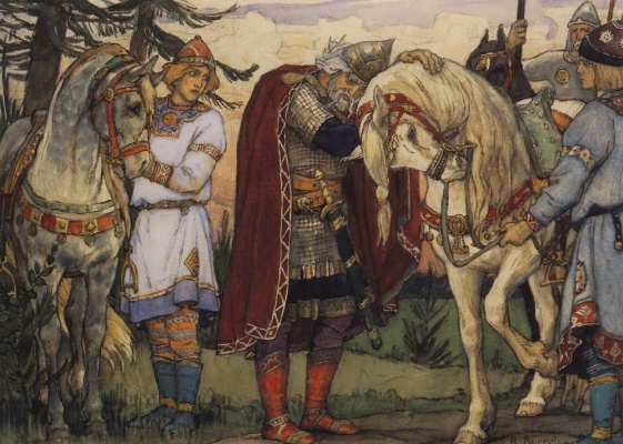 "Victor Mikhailovich Vasnetsov. Farewell to Oleg with a horse. Illustration to ""the Song of wise Oleg"" by Alexander Pushkin"