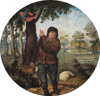 Peter Brueghel The Younger. The destruction of birds ' nests