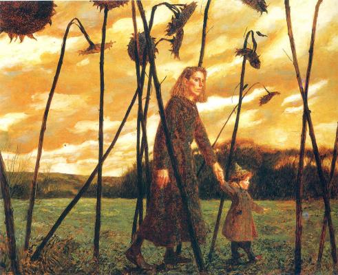 Jamie Wyeth. Giuliana and the sunflowers