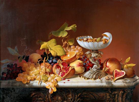 Johann Wilhelm Prairie. Still life with fruits. 1836