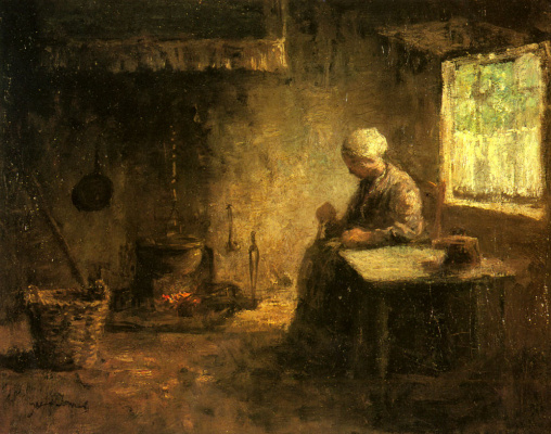 Joseph Israel. Peasant woman by the hearth