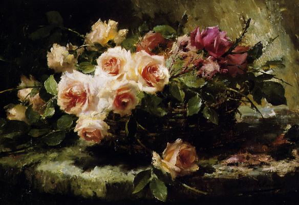 Франс Мортелманс. Свежие розы в корзине на выступе