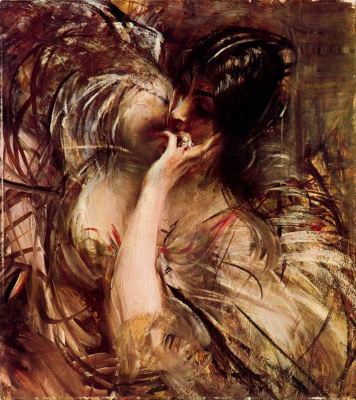 Giovanni Boldini. Blouse with a veil. Portrait of Madame de Joss