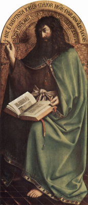 Хуберт ван Эйк. Гентский алтарь, алтарь мистического агнца, центральная часть, сцена: Иоанн Креститель на троне