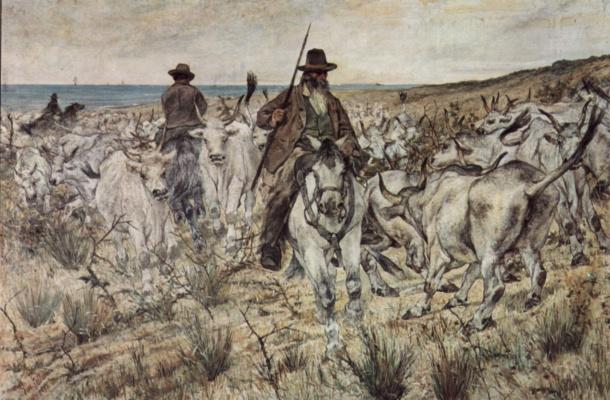 Джованни Фаттори. Два пастуха на лошадях со стадом быков