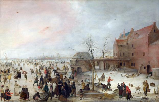 Hendrik Avercamp. On the ice outside the city walls