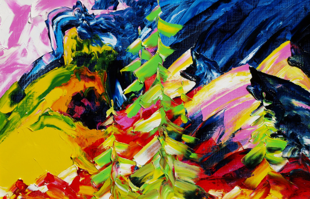 Kandinsky-DAE. Spurs of Khamar-Daban. Canvas, oil, 40-60, 2006. (Expressive sublimatism.)