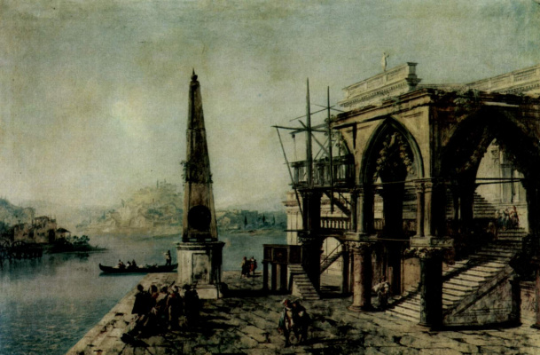 Каприччио с готическим зданием и обелиском