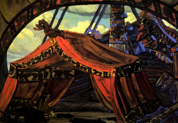 """Nicholas Roerich. The Ship Of Tristan. The backdrop for the first act of """"Tristan and Isolde"""" Wagner"""