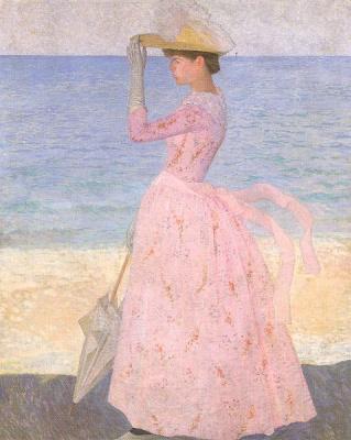 Аристид Майоль. Девушка в розовом на пляже