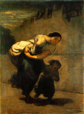 Honore Daumier. Mother and son