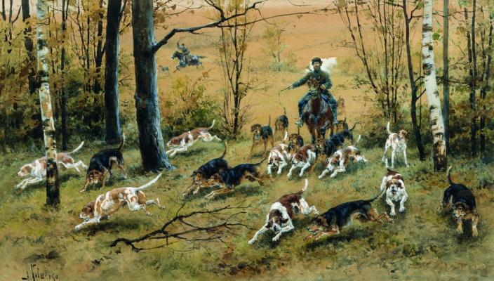 Alexey Danilovich Kivshenko Russia 1851-1895. Hunting with hounds. 1894