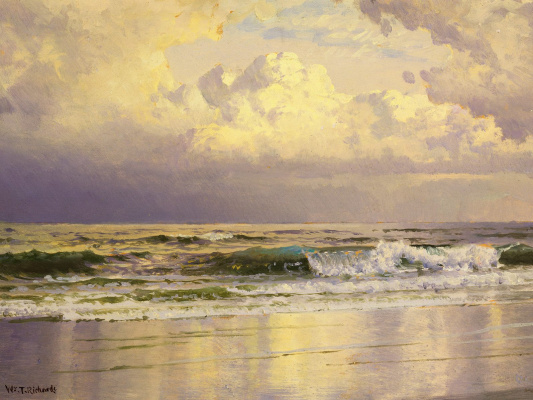 William Trost Richards. Wave at the shore