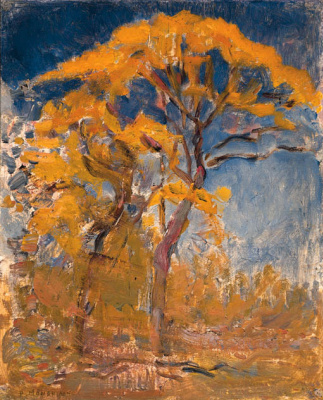 Piet Mondrian. Two trees with orange foliage against blue sky