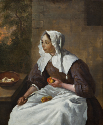 Gabrielle Metsu. The girl, cleaning the apples