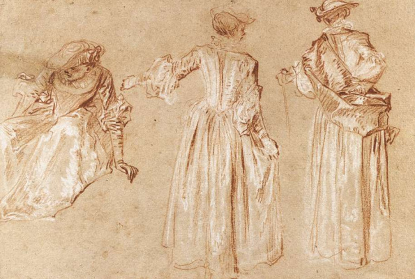 Antoine Watteau. Three sketches of a woman in hat