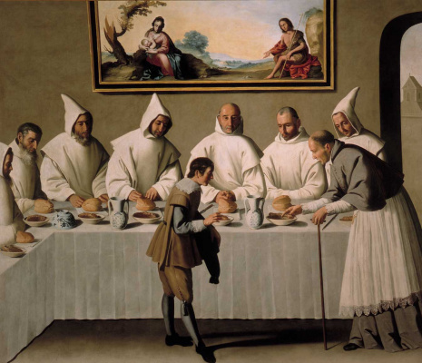 Francisco de Zurbaran. A cycle of paintings for karadzinska monastery. Saint Hugh in a Carthusian monastery