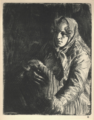 Anders Zorn. Woman in scarf