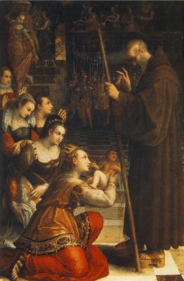 Лавиния Фонтана. Франциск из Паолы благословляет сына Луизы Савойской