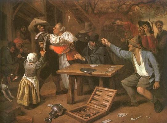 Jan Steen. Fight card players
