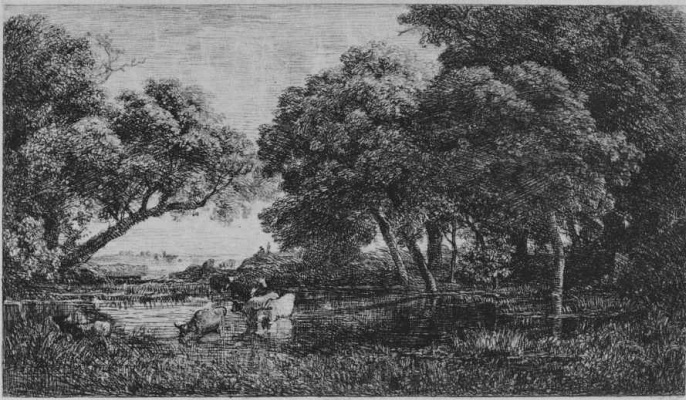 Charles-Francois Daubigny. Cows in the swamp
