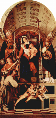 Лоренцо Лотто. Алтарный полиптих Реканати, центральная часть. Мария на троне с младенцем Иисусом, три ангела, св. Доминик, св. Григорий и св. У