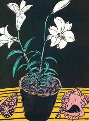 Кен Дан. Белые цветы в горшке