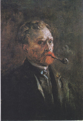 Vincent van Gogh. Self-portrait with pipe (pipe right)