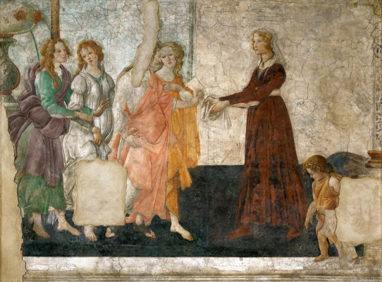 Sandro Botticelli. A young woman receives gifts from Venus and the three graces
