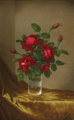 Martin Johnson Head. Red roses in a glass cup