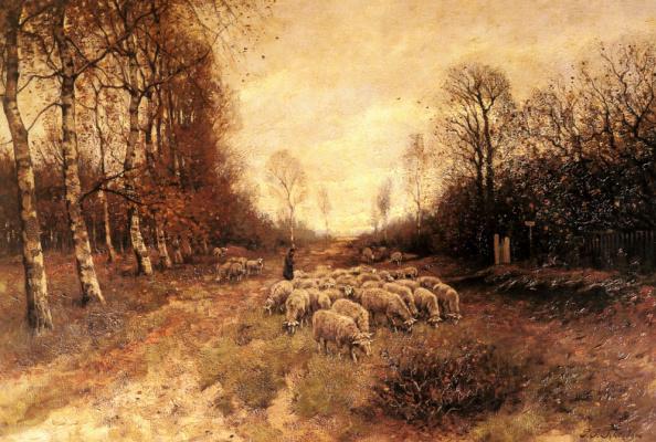 Петрусь Паулюс Шиедгес. Выпас овец рядом с Ларене