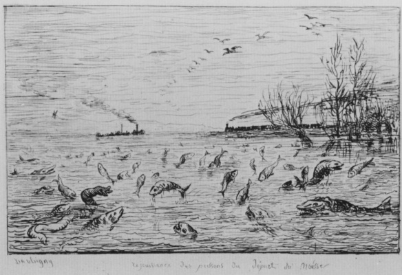 Charles-Francois Daubigny. The joy of fish about the departure of the young fisherman