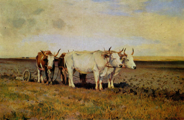 Sergey Ivanovich Svetoslavsky. The oxen at the plow