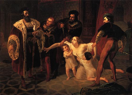 Karl Pavlovich Bryullov. Death of Inessa de Castro, morganatic wife of Portuguese Infante don Pedro