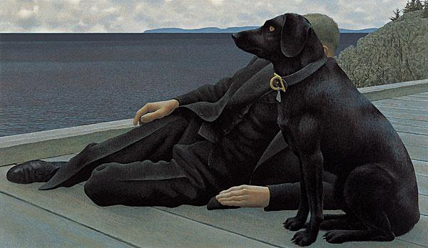 Alex Colville. Dog and priest