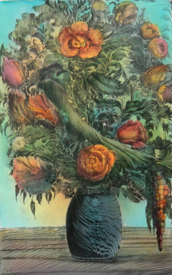 Ernst Fuchs. A bouquet of flowers in a vase