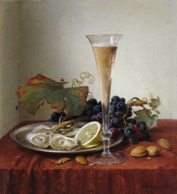 Grapes, oysters, almonds, and a glass of champagne on a draped ledge. 1858