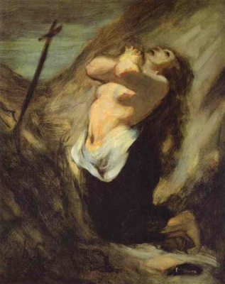 Honore Daumier. Magdalene in the desert