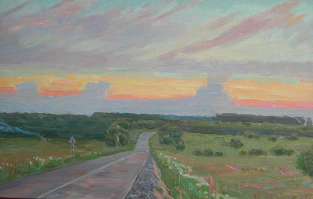 Eugene Alexandrovich Kazantsev. The road to the carpet. Sunset.