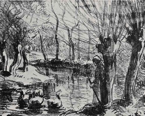 Camille Pissarro. Feeding geese