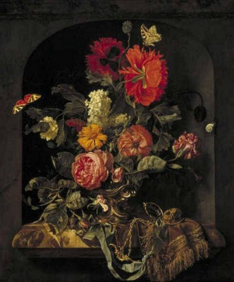 Willem van Aelst. Still life with flowers in a niche